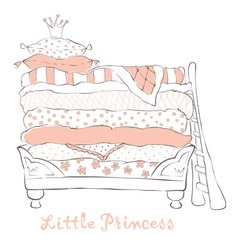 Bed for the little princess on the pea vector