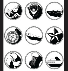 Nautical elements ii icons in knotted circle vector