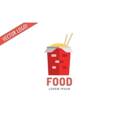 Chinese noodles fast food logo icon template meat vector