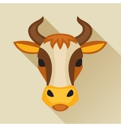 With cow head in flat design style vector