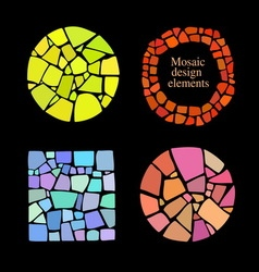 Set of 4 mosaic elements vector