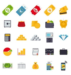 Flat design money and finance icons collection vector