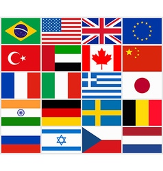 Set of popular country flags vector