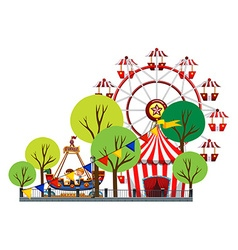 Ferris wheel and children on the ride vector