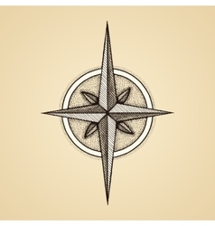 Hand drawn compass wind rose symbol vector