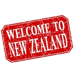 Welcome to new zealand red square grunge stamp vector