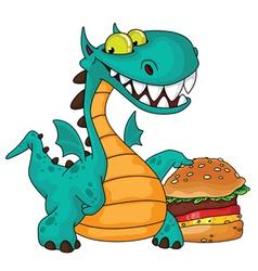 Great dragon and burger vector