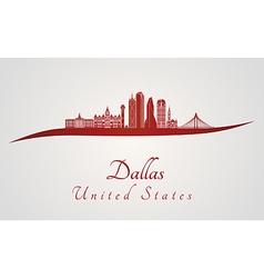Dallas skyline in red vector image