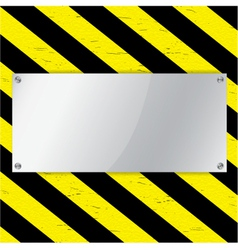Metal frame on warning stripe background vector image