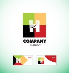 Alphabet letter h vintage strong colors logo icon vector