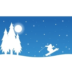 At night people skiing landscape christmas vector