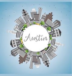 Austin skyline with gray buildings blue sky and vector