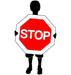 boy with stop sign vector image vector image