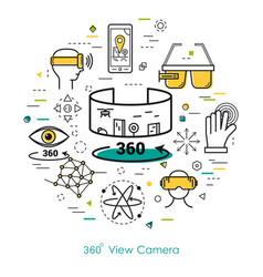 camera view 360 - line art vector image