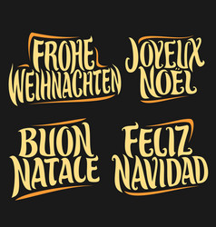 Christmas in different languages vector