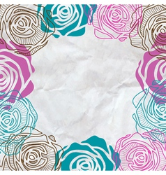 Color roses frame on crumpled paper vector image