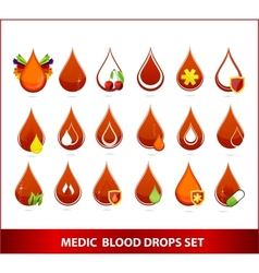creative medic blood drops symbols set vector image vector image