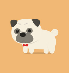 cute pug dog with red ribbon on neck vector image vector image