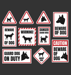 danger dog signs beware of dog vector image vector image