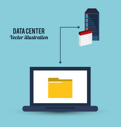 Data center analysis laptop folder vector