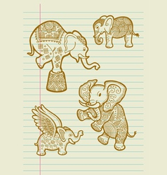 Decorative elephant sketches vector