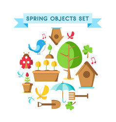 design spring objects set poster vector image vector image