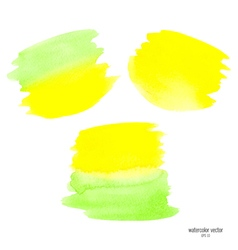 Green and yellow set watercolor vector