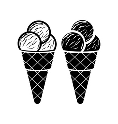 Ice cream in cone icon simple style vector