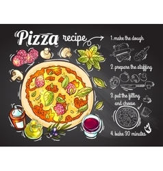 Italian pizza recipe vector image vector image