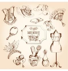 Ladies Sketch Set vector image