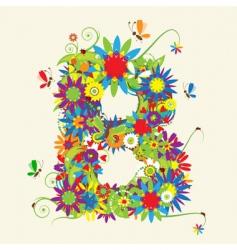 letter B floral design vector image vector image