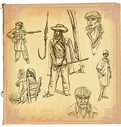 People natives an hand drawn pack vector