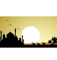 Ramadan kareem background with mosque and camel tr vector