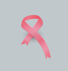 realistic pink ribbon and breast cancer icon vector image
