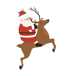 santa claus riding a deer vector image