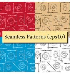 Seamless geometric pattern textures set in black vector
