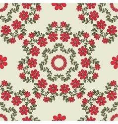 Seamless Pattern Mandala Red Flowers vector image vector image