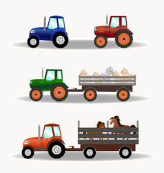 set of tractors with trailers carrying animals vector image