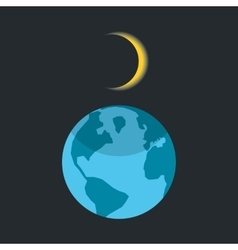 Solar eclipse with shadow on planet earth vector