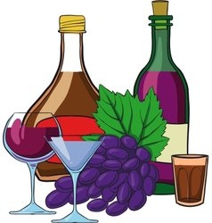 Still Life with bottles of wine vector image