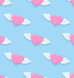 Winged heart seamless pattern Background for vector image