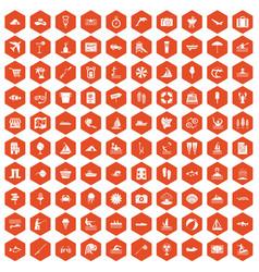 100 water recreation icons hexagon orange vector