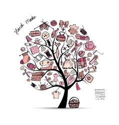Sewing tree sketch for your design vector