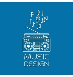 Music design with magnetic cassette player vector image