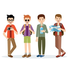 Isolated men travelers vector