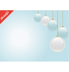 Christmas blue copy space with baubles vector