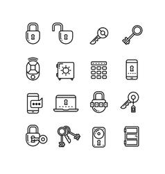 Key lock padlock safe door security thin line vector