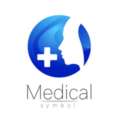 medical sign with cross human profile vector image