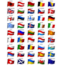 Wavy european flags set vector