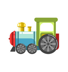 Small plastic steam train with colorful parts vector